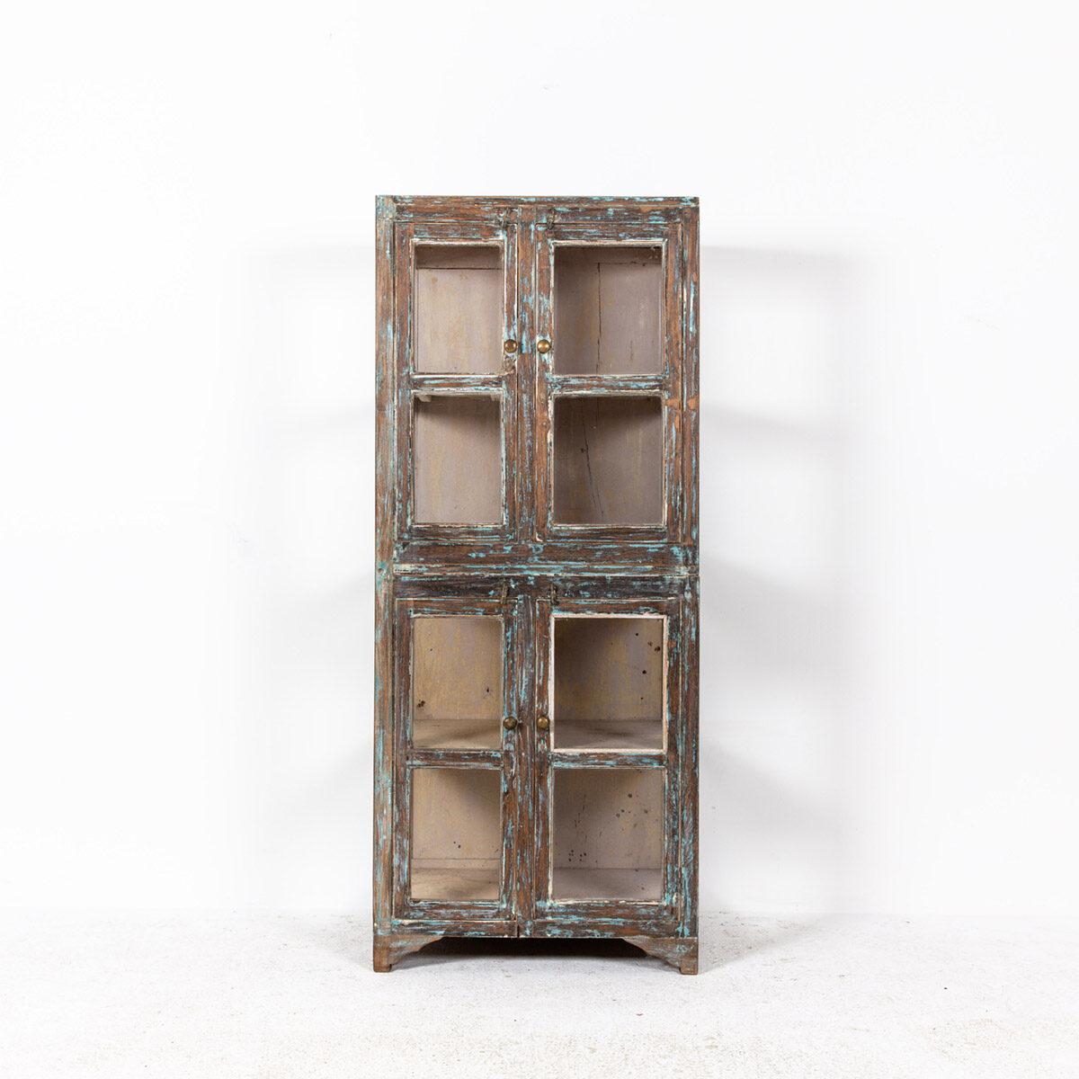Hoge-glazen-kast-4-deuren-bruinblauw-6
