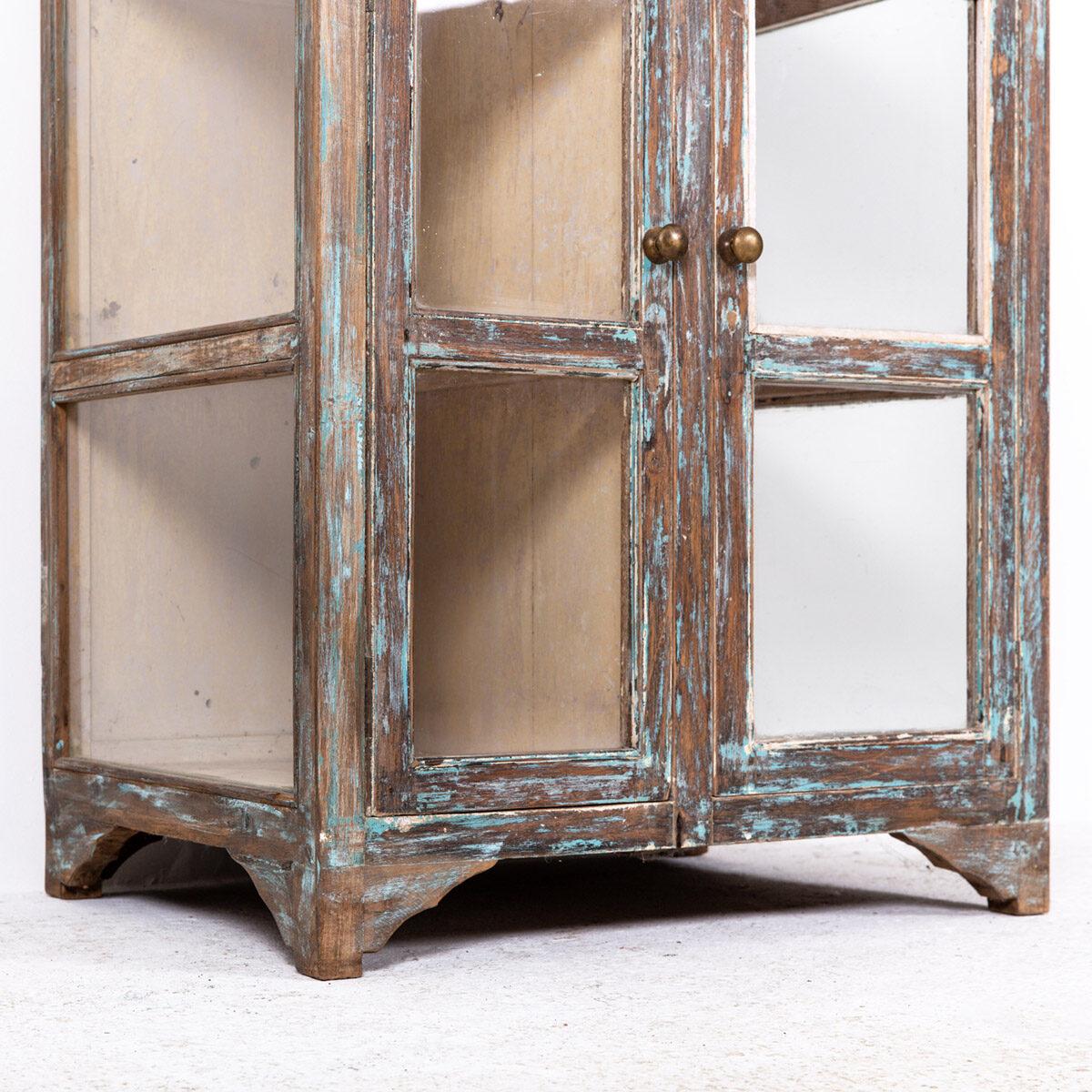 Hoge-glazen-kast-4-deuren-bruinblauw-8