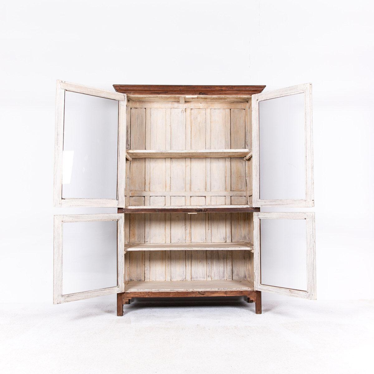 Oude-houten-vitrinekast-bruin-8