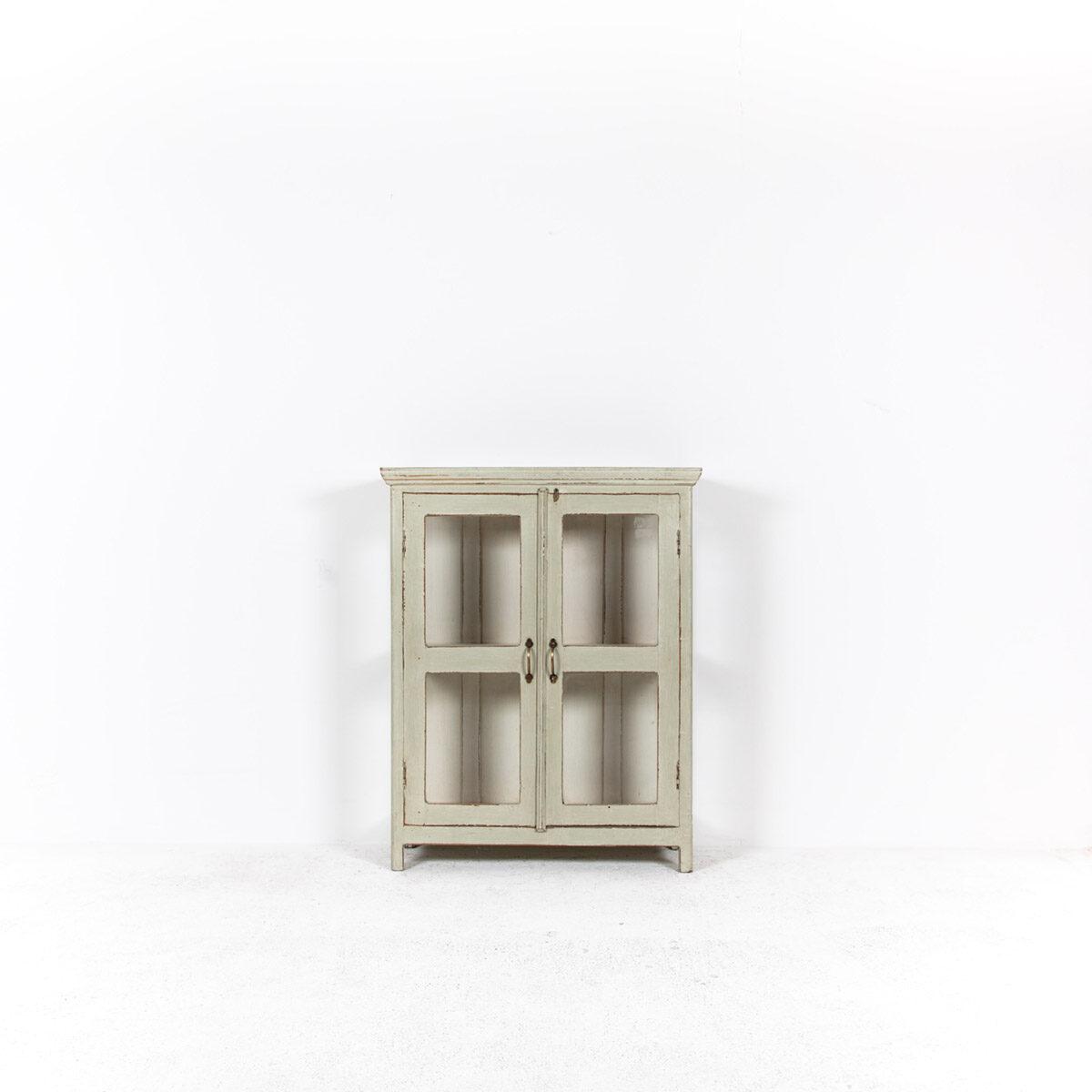 Vitrinekast-2-glazen-deuren-oud-groengrijs-4