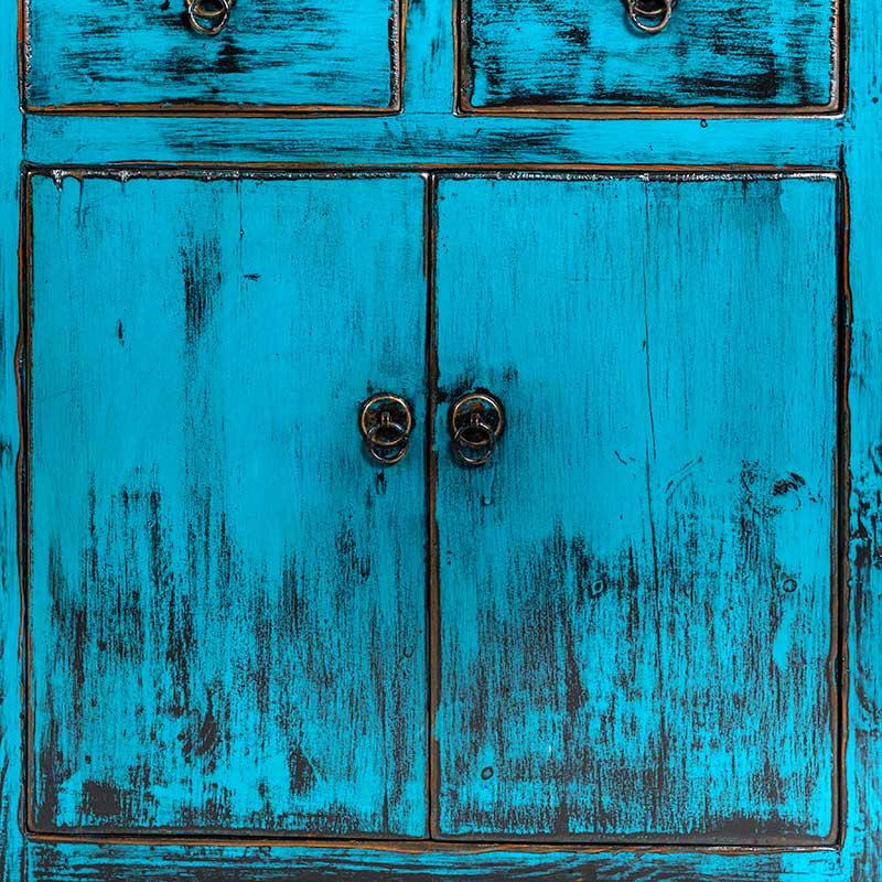 Unieke blauwe boekenkast